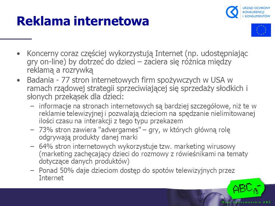 15 Reklama internetowa Koncerny coraz częściej wykorzystują Internet (np.