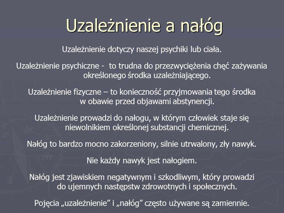 Środki psychoaktywne Do środków psychoaktywnych należą:  Alkaloidy ( teina, kofeina, nikotyna)  Leki psychotropowe ( lekarstwa nasenne, uspokajające, przeciwlękowe, przeciwdepresyjne)  Narkotyki  Alkohol Środki psychotropowe działają wybiórczo, głównie na ośrodkowy układ nerwowy i wpływają na stan psychiczny człowieka, zmieniając jego nastrój lub zachowanie.