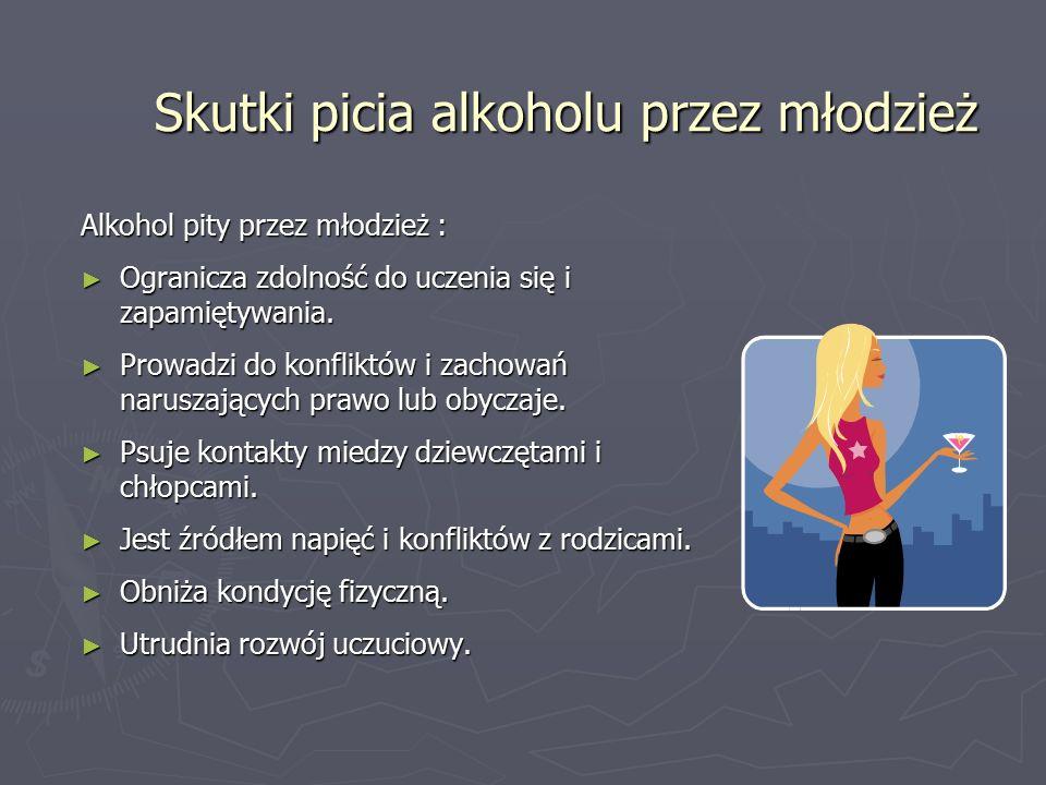 Skutki picia alkoholu przez młodzież Alkohol pity przez młodzież : ► Ogranicza zdolność do uczenia się i zapamiętywania.