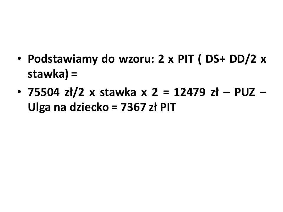 Podstawiamy do wzoru: 2 x PIT ( DS+ DD/2 x stawka) = 75504 zł/2 x stawka x 2 = 12479 zł – PUZ – Ulga na dziecko = 7367 zł PIT