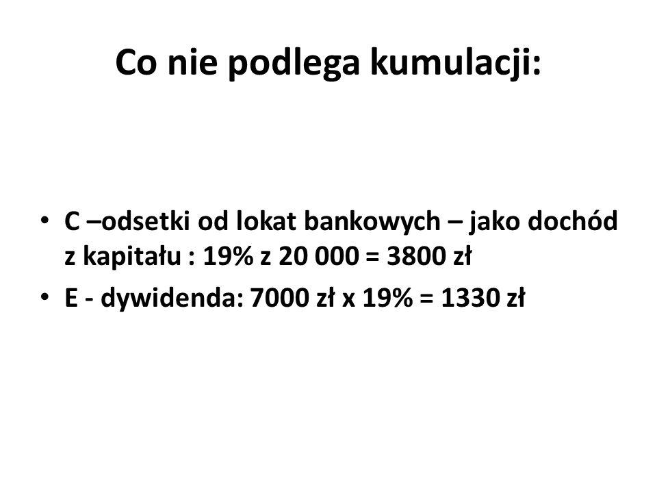 Co nie podlega kumulacji: C –odsetki od lokat bankowych – jako dochód z kapitału : 19% z 20 000 = 3800 zł E - dywidenda: 7000 zł x 19% = 1330 zł