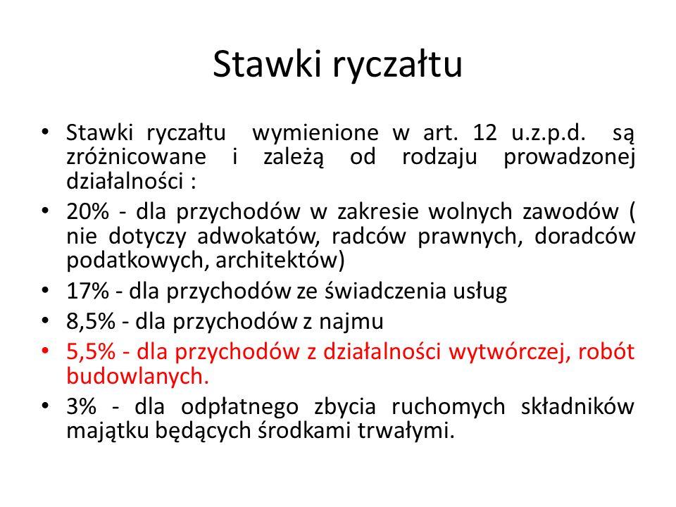 Stawki ryczałtu Stawki ryczałtu wymienione w art. 12 u.z.p.d.