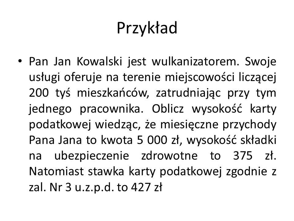 Przykład Pan Jan Kowalski jest wulkanizatorem.