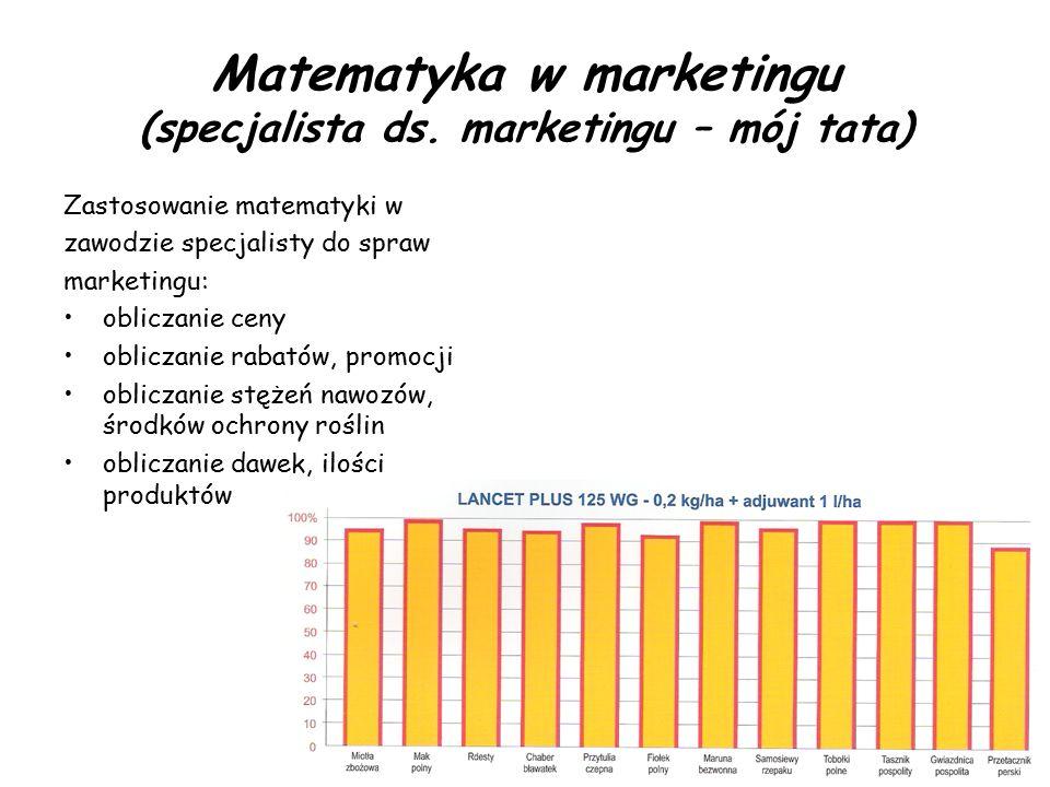Matematyka w marketingu (specjalista ds. marketingu – mój tata) Zastosowanie matematyki w zawodzie specjalisty do spraw marketingu: obliczanie ceny ob