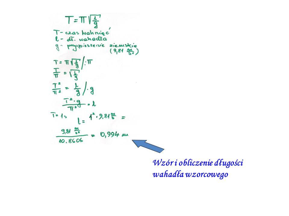 Wzór i obliczenie długości wahadła wzorcowego
