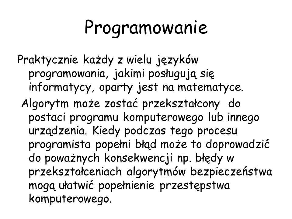 Programowanie Praktycznie każdy z wielu języków programowania, jakimi posługują się informatycy, oparty jest na matematyce. Algorytm może zostać przek