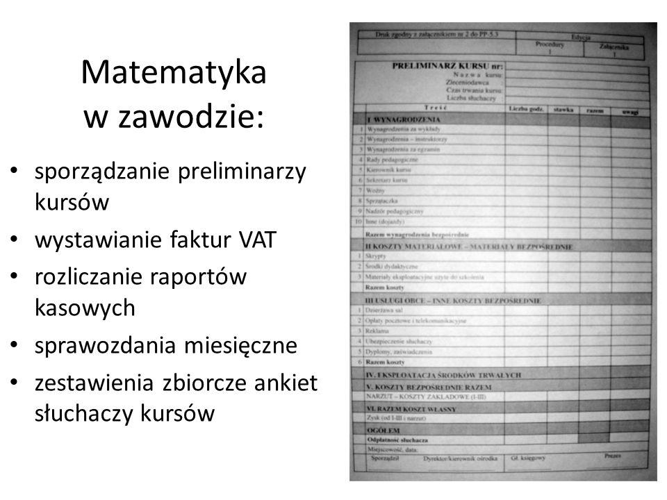 Matematyka w zawodzie: sporządzanie preliminarzy kursów wystawianie faktur VAT rozliczanie raportów kasowych sprawozdania miesięczne zestawienia zbiorcze ankiet słuchaczy kursów