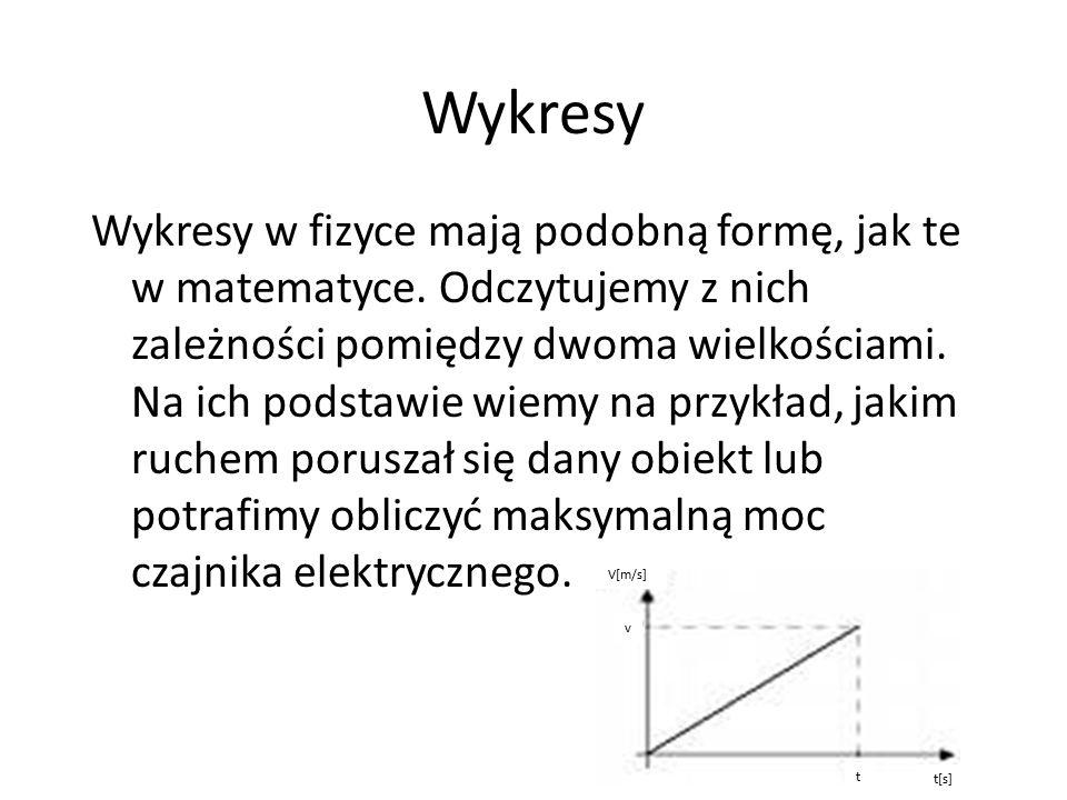 Wykresy Wykresy w fizyce mają podobną formę, jak te w matematyce. Odczytujemy z nich zależności pomiędzy dwoma wielkościami. Na ich podstawie wiemy na