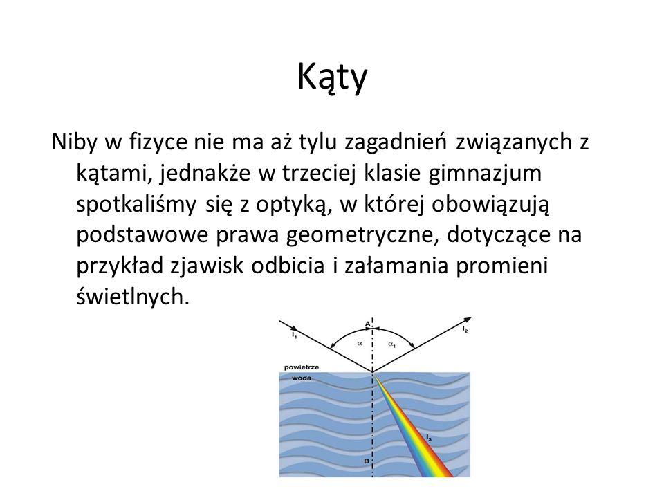 Kąty Niby w fizyce nie ma aż tylu zagadnień związanych z kątami, jednakże w trzeciej klasie gimnazjum spotkaliśmy się z optyką, w której obowiązują podstawowe prawa geometryczne, dotyczące na przykład zjawisk odbicia i załamania promieni świetlnych.