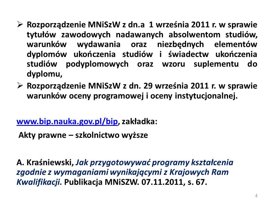  Rozporządzenie MNiSzW z dn.a 1 września 2011 r.