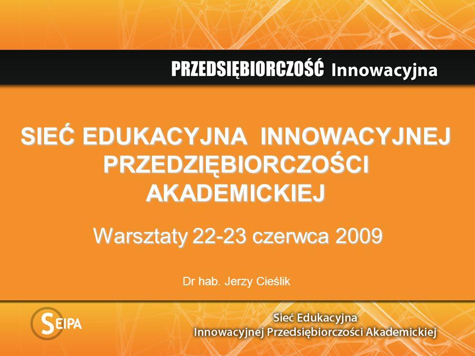SIEĆ EDUKACYJNA INNOWACYJNEJ PRZEDZIĘBIORCZOŚCI AKADEMICKIEJ Warsztaty 22-23 czerwca 2009 Dr hab.