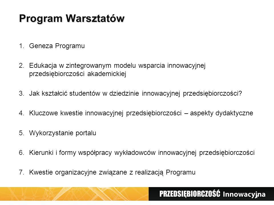 2 Program Warsztatów 1.Geneza Programu 2.Edukacja w zintegrowanym modelu wsparcia innowacyjnej przedsiębiorczości akademickiej 3.Jak kształcić studentów w dziedzinie innowacyjnej przedsiębiorczości.