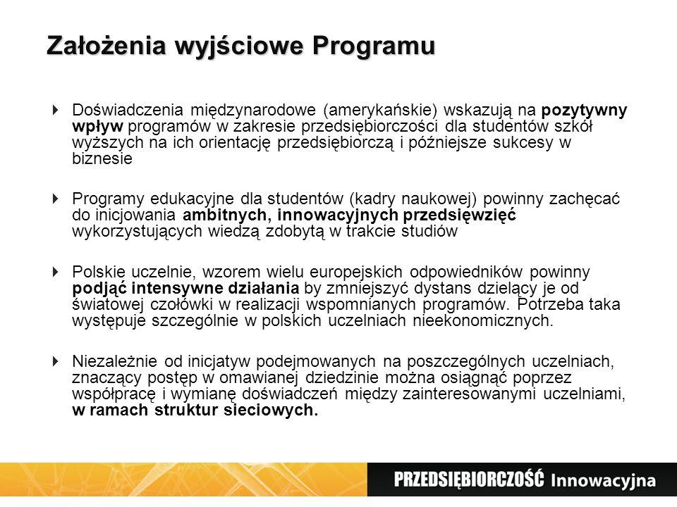 Założenia wyjściowe Programu  Doświadczenia międzynarodowe (amerykańskie) wskazują na pozytywny wpływ programów w zakresie przedsiębiorczości dla studentów szkół wyższych na ich orientację przedsiębiorczą i późniejsze sukcesy w biznesie  Programy edukacyjne dla studentów (kadry naukowej) powinny zachęcać do inicjowania ambitnych, innowacyjnych przedsięwzięć wykorzystujących wiedzą zdobytą w trakcie studiów  Polskie uczelnie, wzorem wielu europejskich odpowiedników powinny podjąć intensywne działania by zmniejszyć dystans dzielący je od światowej czołówki w realizacji wspomnianych programów.