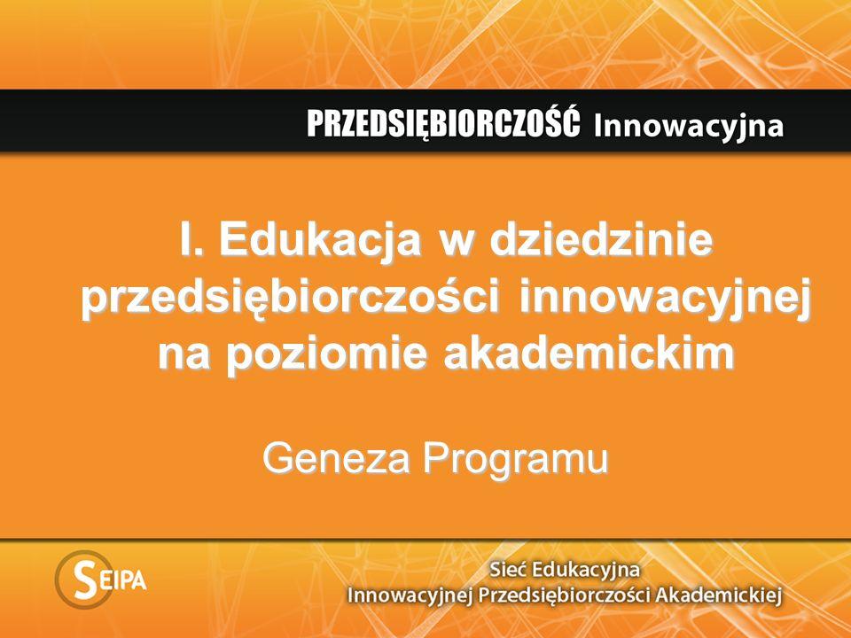 I. Edukacja w dziedzinie przedsiębiorczości innowacyjnej na poziomie akademickim Geneza Programu