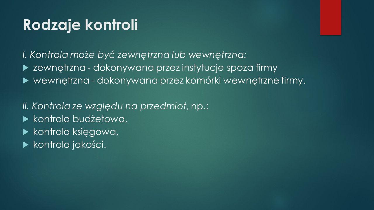 Rodzaje kontroli I.