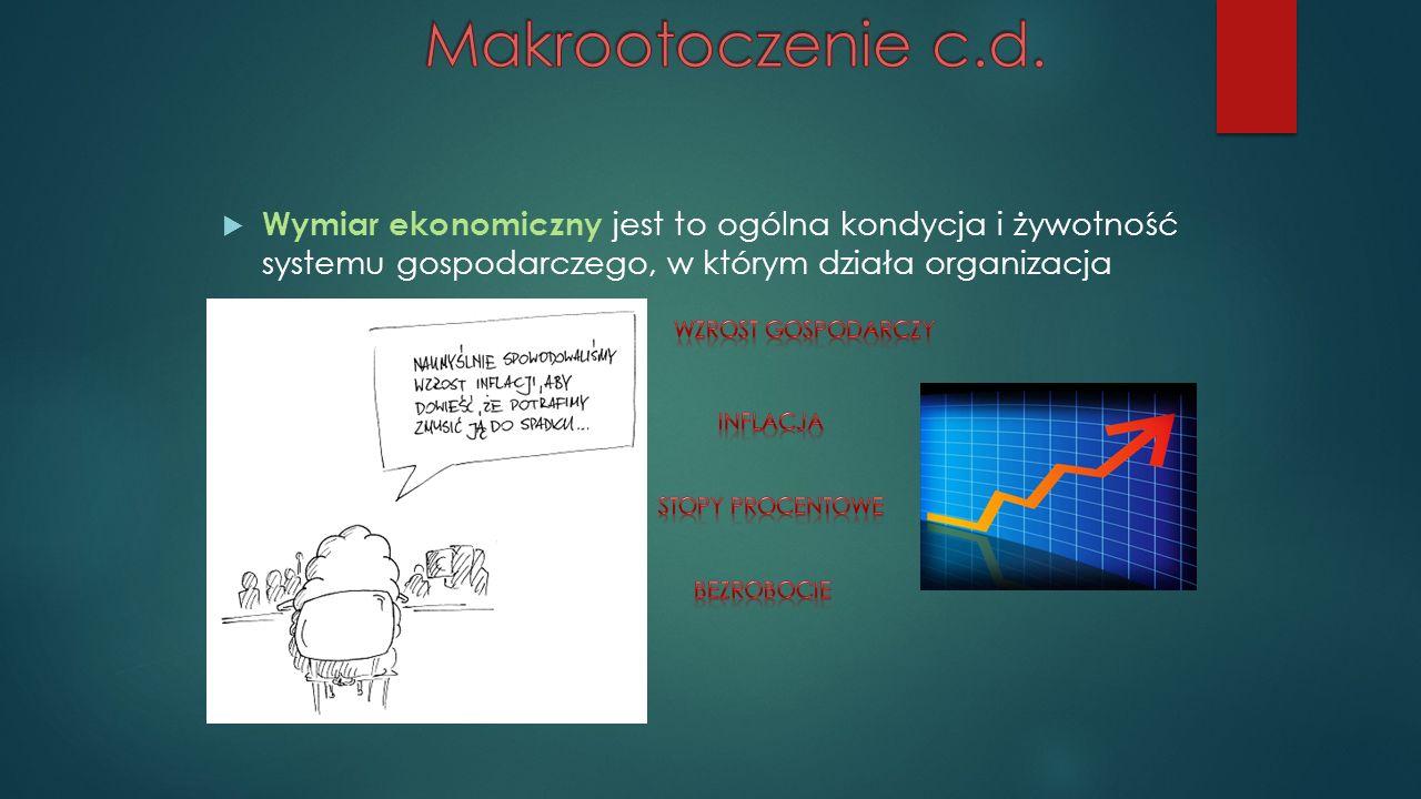  Wymiar ekonomiczny jest to ogólna kondycja i żywotność systemu gospodarczego, w którym działa organizacja