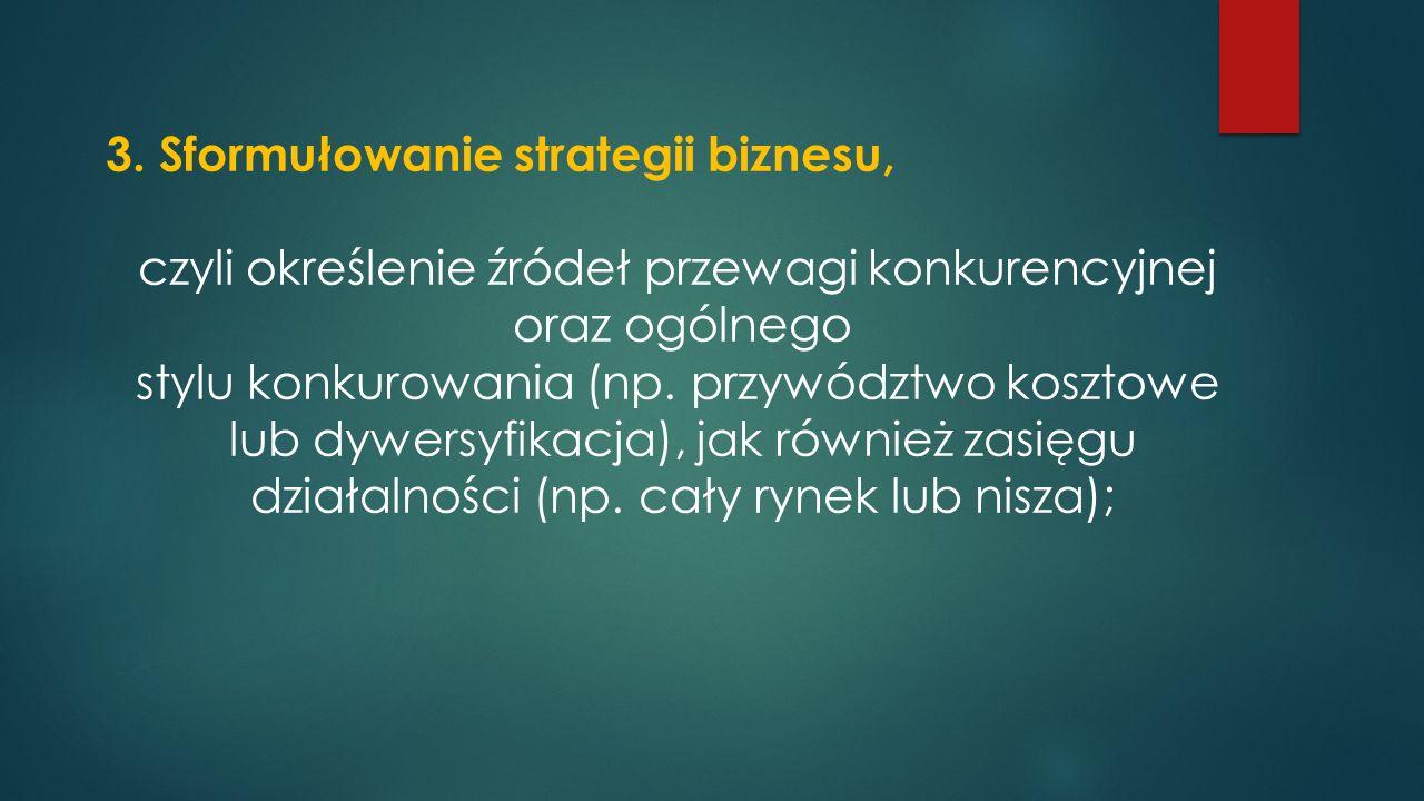 3. Sformułowanie strategii biznesu, czyli określenie źródeł przewagi konkurencyjnej oraz ogólnego stylu konkurowania (np. przywództwo kosztowe lub dyw