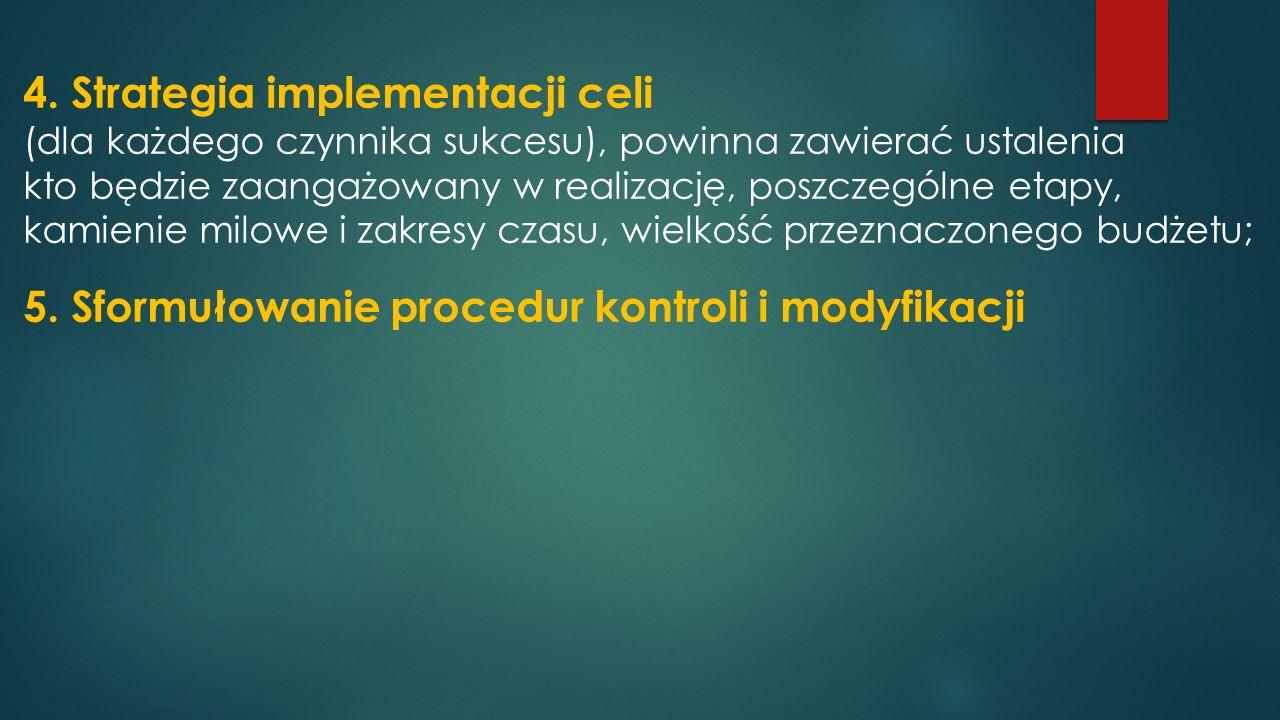 4. Strategia implementacji celi (dla każdego czynnika sukcesu), powinna zawierać ustalenia kto będzie zaangażowany w realizację, poszczególne etapy, k