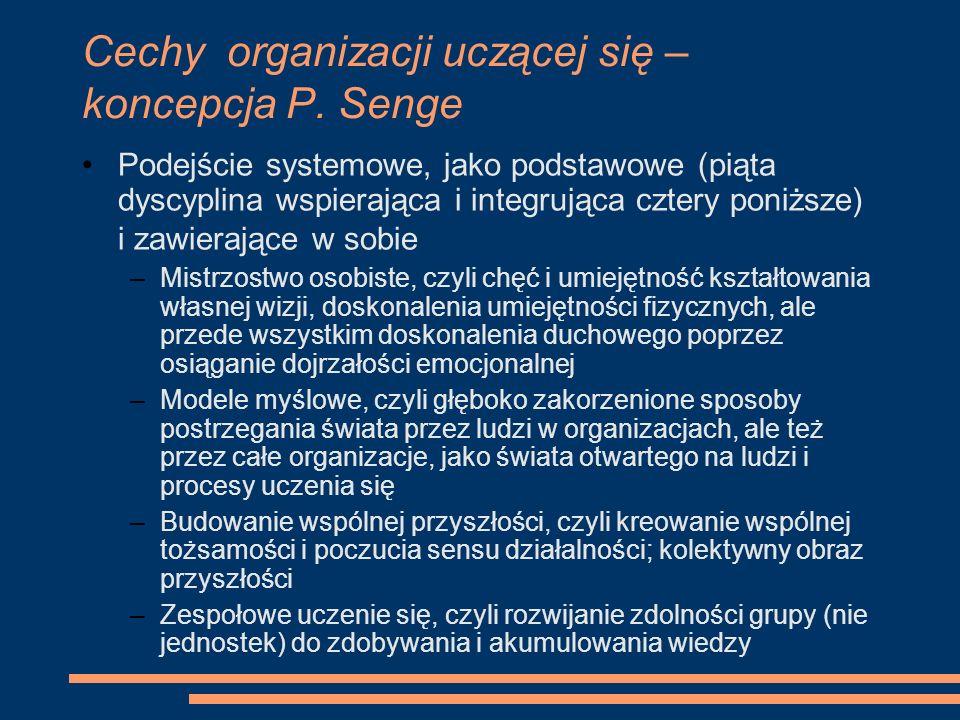 Cechy organizacji uczącej się – koncepcja P. Senge Podejście systemowe, jako podstawowe (piąta dyscyplina wspierająca i integrująca cztery poniższe) i