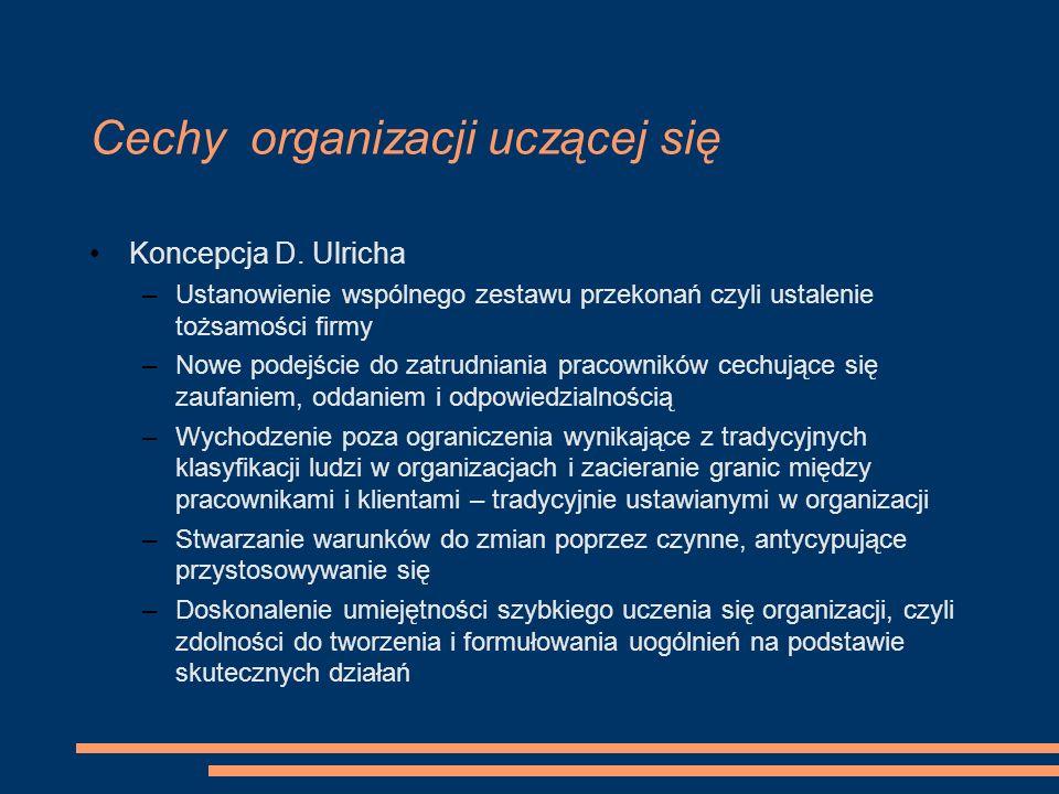 Cechy organizacji uczącej się Koncepcja D. Ulricha –Ustanowienie wspólnego zestawu przekonań czyli ustalenie tożsamości firmy –Nowe podejście do zatru