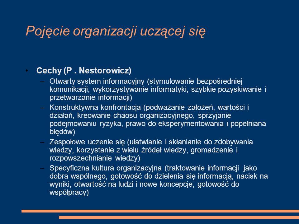 Pojęcie organizacji uczącej się Cechy (P. Nestorowicz) –Otwarty system informacyjny (stymulowanie bezpośredniej komunikacji, wykorzystywanie informaty