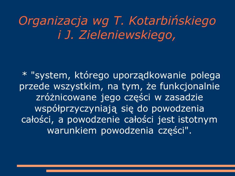 Organizacja wg T. Kotarbińskiego i J. Zieleniewskiego, *
