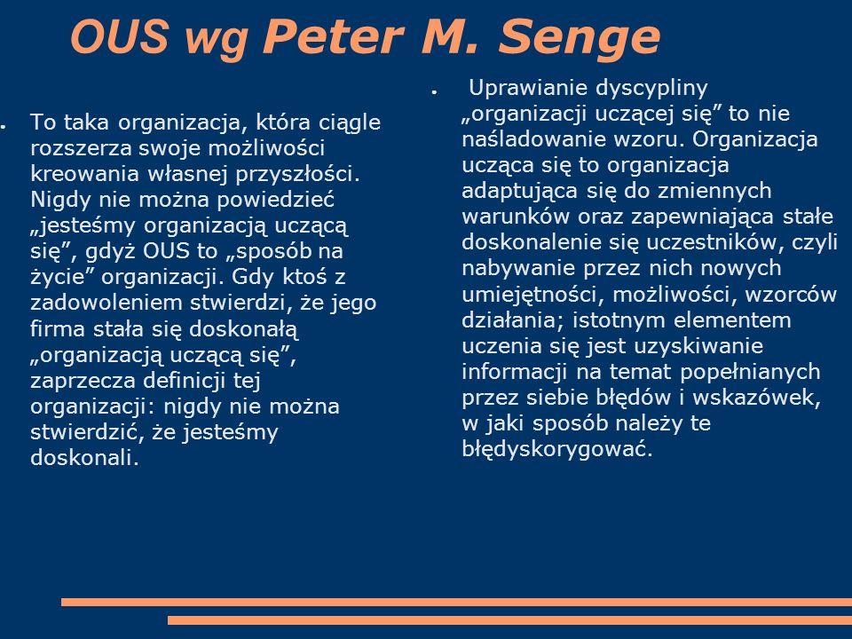 """OUS wg Peter M. Senge ● To taka organizacja, która ciągle rozszerza swoje możliwości kreowania własnej przyszłości. Nigdy nie można powiedzieć """"jesteś"""