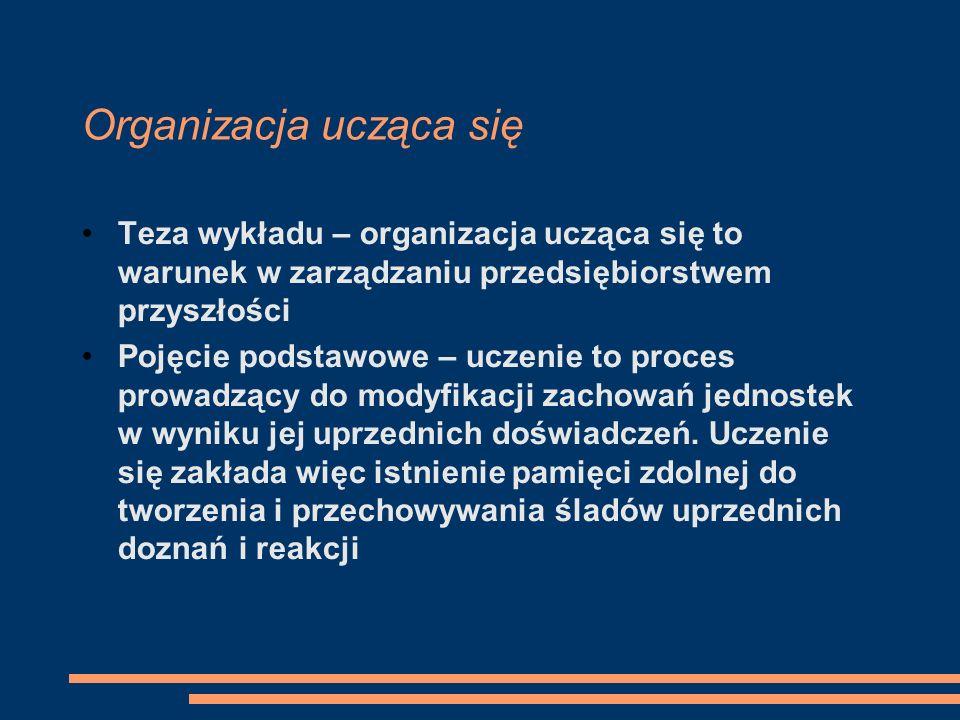 Organizacja ucząca się Teza wykładu – organizacja ucząca się to warunek w zarządzaniu przedsiębiorstwem przyszłości Pojęcie podstawowe – uczenie to pr
