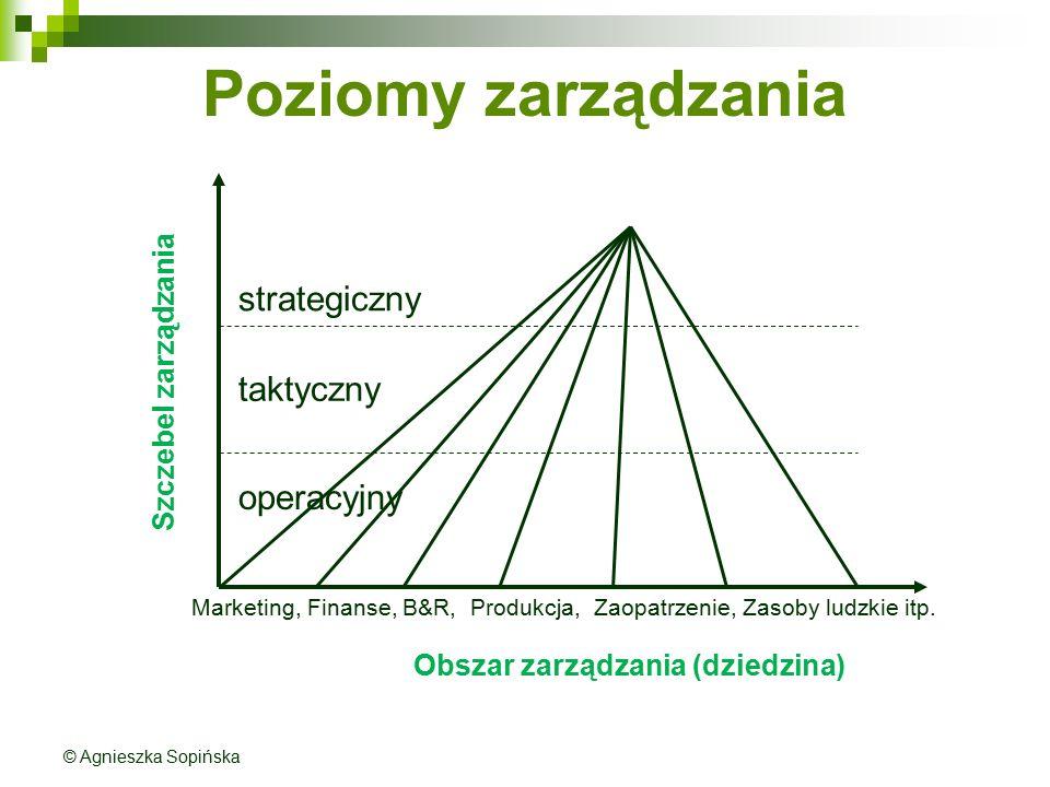 Poziomy zarządzania Obszar zarządzania (dziedzina) Szczebel zarządzania Marketing, Finanse, B&R, Produkcja, Zaopatrzenie, Zasoby ludzkie itp. strategi