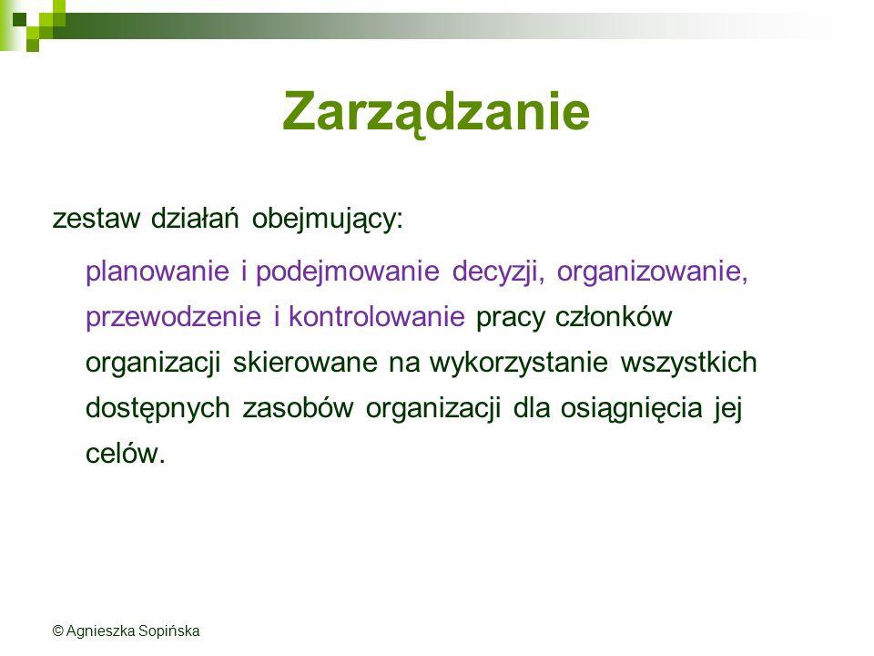 Zarządzanie zestaw działań obejmujący: planowanie i podejmowanie decyzji, organizowanie, przewodzenie i kontrolowanie pracy członków organizacji skier