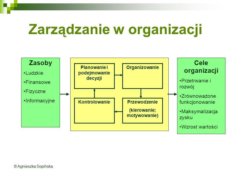 Zarządzanie w organizacji Planowanie i podejmowanie decyzji Przewodzenie (kierowanie; motywowanie) Organizowanie Kontrolowanie Zasoby Ludzkie Finansow