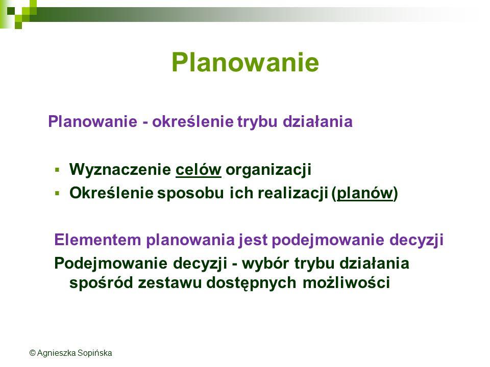Planowanie Planowanie - określenie trybu działania  Wyznaczenie celów organizacji  Określenie sposobu ich realizacji (planów) Elementem planowania j