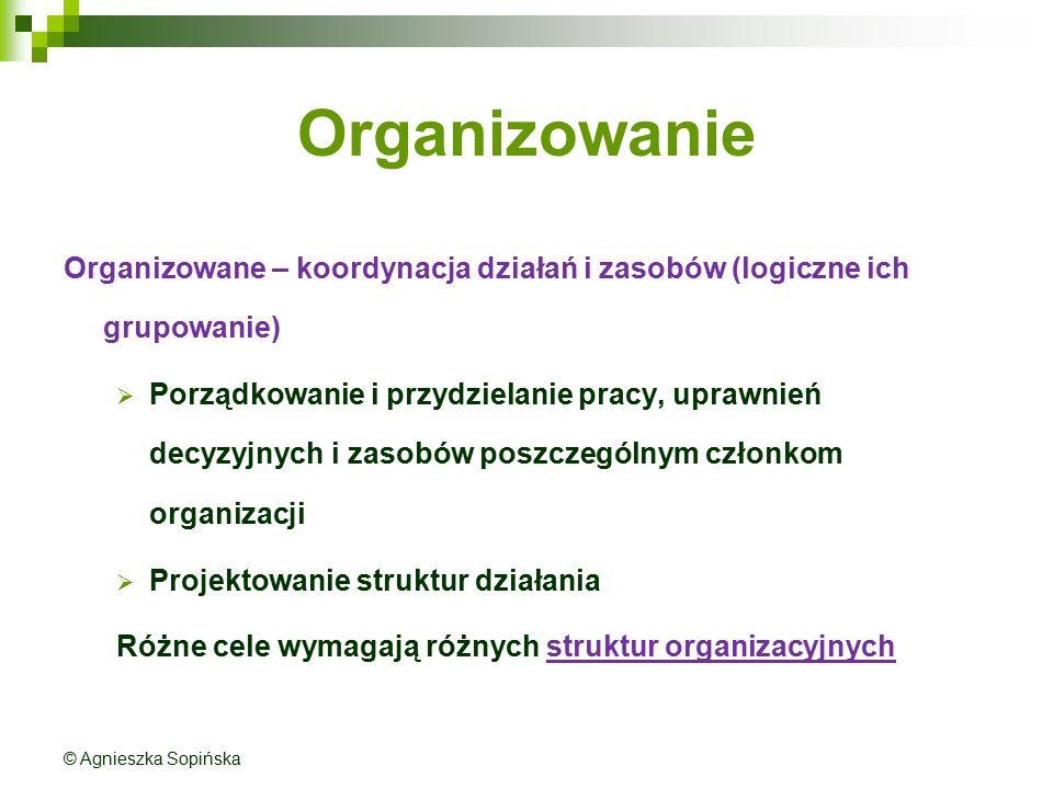 Organizowanie Organizowane – koordynacja działań i zasobów (logiczne ich grupowanie)  Porządkowanie i przydzielanie pracy, uprawnień decyzyjnych i zasobów poszczególnym członkom organizacji  Projektowanie struktur działania Różne cele wymagają różnych struktur organizacyjnych © Agnieszka Sopińska