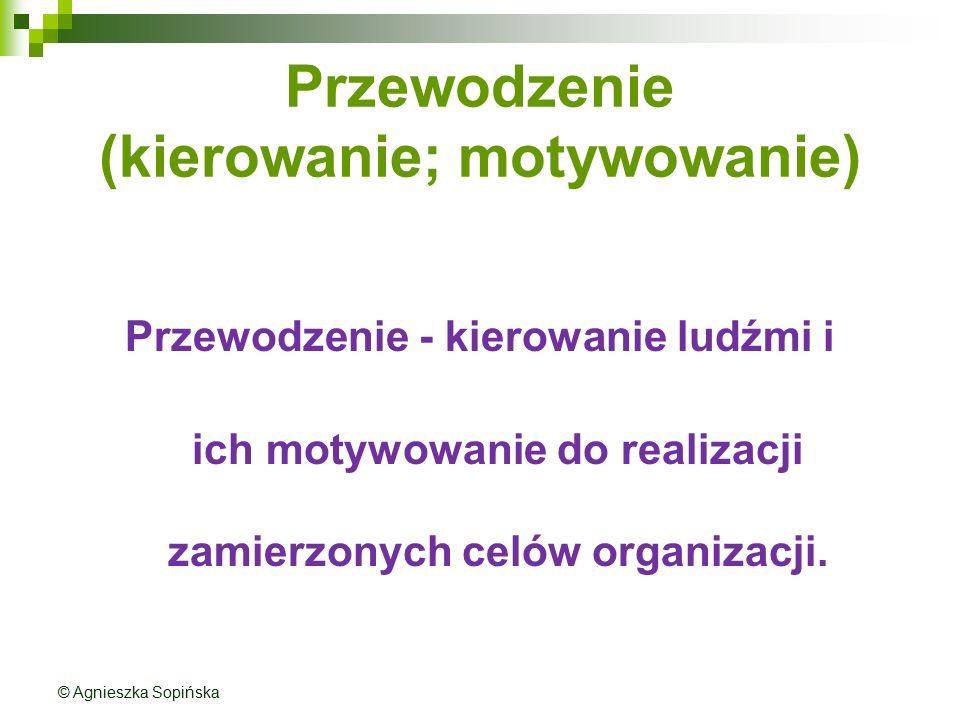 Przewodzenie (kierowanie; motywowanie) Przewodzenie - kierowanie ludźmi i ich motywowanie do realizacji zamierzonych celów organizacji. © Agnieszka So