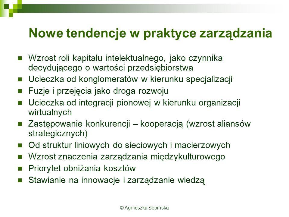 © Agnieszka Sopińska Nowe tendencje w praktyce zarządzania Wzrost roli kapitału intelektualnego, jako czynnika decydującego o wartości przedsiębiorstw