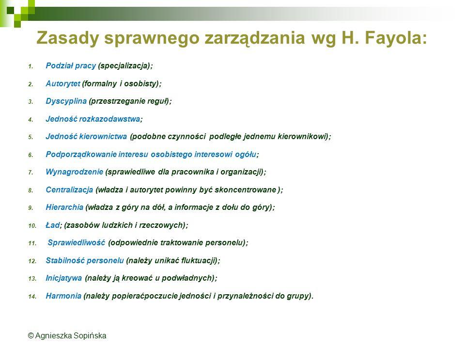 Zasady sprawnego zarządzania wg H. Fayola: 1. Podział pracy (specjalizacja); 2. Autorytet (formalny i osobisty); 3. Dyscyplina (przestrzeganie reguł);
