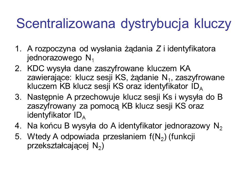 Scentralizowana dystrybucja kluczy 1.A rozpoczyna od wysłania żądania Z i identyfikatora jednorazowego N 1 2.KDC wysyła dane zaszyfrowane kluczem KA zawierające: klucz sesji KS, żądanie N 1, zaszyfrowane kluczem KB klucz sesji KS oraz identyfikator ID A 3.Następnie A przechowuje klucz sesji Ks i wysyła do B zaszyfrowany za pomocą KB klucz sesji KS oraz identyfikator ID A 4.Na końcu B wysyła do A identyfikator jednorazowy N 2 5.Wtedy A odpowiada przesłaniem f(N 2 ) (funkcji przekształcającej N 2 )