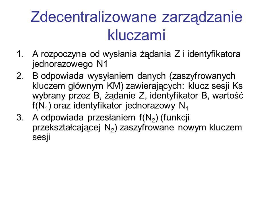 Zdecentralizowane zarządzanie kluczami 1.A rozpoczyna od wysłania żądania Z i identyfikatora jednorazowego N1 2.B odpowiada wysyłaniem danych (zaszyfrowanych kluczem głównym KM) zawierających: klucz sesji Ks wybrany przez B, żądanie Z, identyfikator B, wartość f(N 1 ) oraz identyfikator jednorazowy N 1 3.A odpowiada przesłaniem f(N 2 ) (funkcji przekształcającej N 2 ) zaszyfrowane nowym kluczem sesji