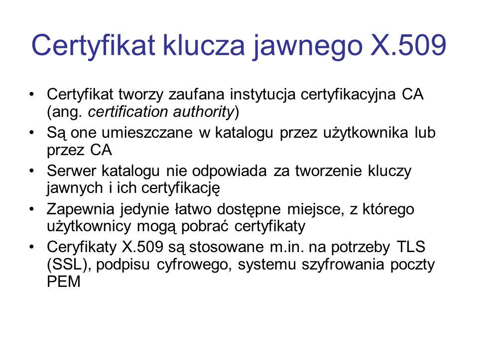 Certyfikat klucza jawnego X.509 Certyfikat tworzy zaufana instytucja certyfikacyjna CA (ang.
