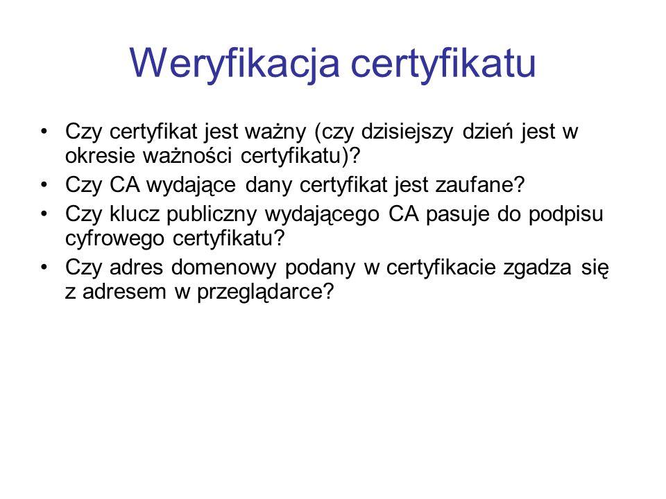 Weryfikacja certyfikatu Czy certyfikat jest ważny (czy dzisiejszy dzień jest w okresie ważności certyfikatu).