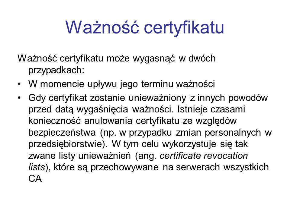Ważność certyfikatu Ważność certyfikatu może wygasnąć w dwóch przypadkach: W momencie upływu jego terminu ważności Gdy certyfikat zostanie unieważniony z innych powodów przed datą wygaśnięcia ważności.