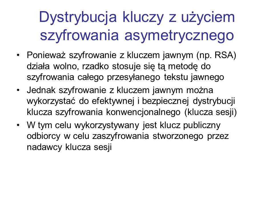Dystrybucja kluczy z użyciem szyfrowania asymetrycznego Ponieważ szyfrowanie z kluczem jawnym (np.