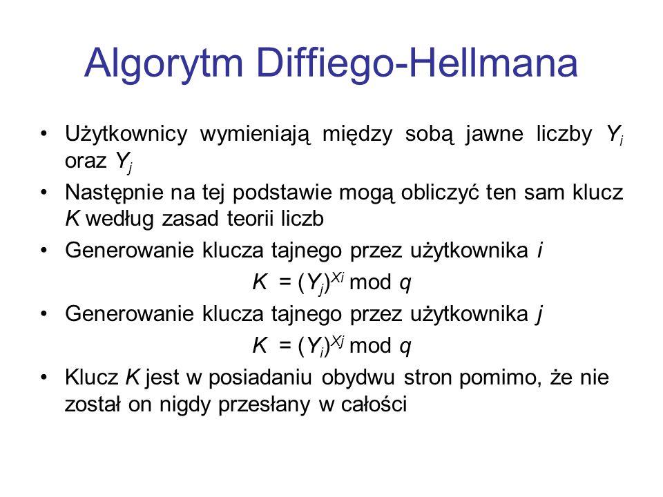 Algorytm Diffiego-Hellmana Użytkownicy wymieniają między sobą jawne liczby Y i oraz Y j Następnie na tej podstawie mogą obliczyć ten sam klucz K według zasad teorii liczb Generowanie klucza tajnego przez użytkownika i K = (Y j ) Xi mod q Generowanie klucza tajnego przez użytkownika j K = (Y i ) Xj mod q Klucz K jest w posiadaniu obydwu stron pomimo, że nie został on nigdy przesłany w całości