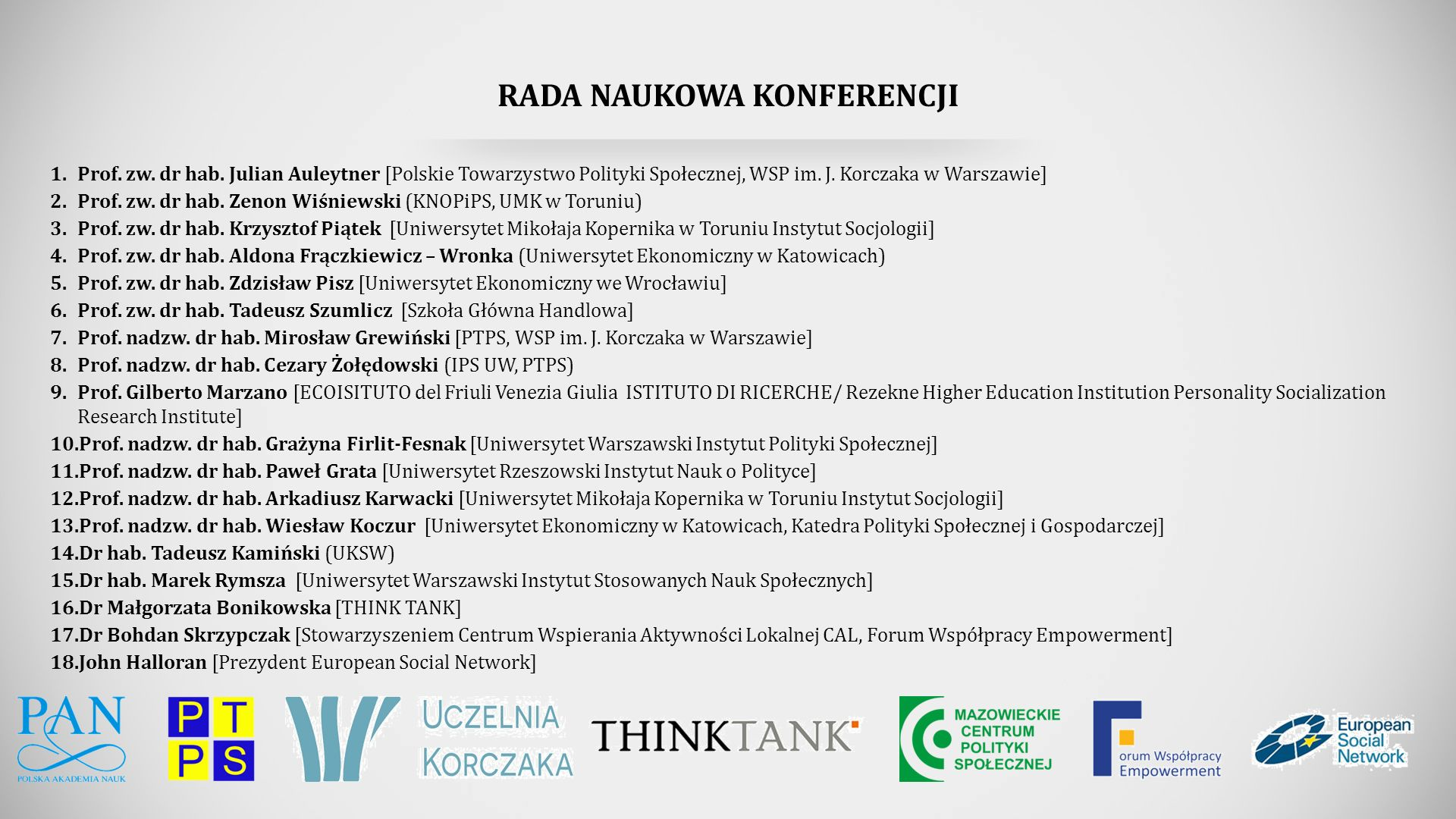 RADA NAUKOWA KONFERENCJI 1.Prof. zw. dr hab.