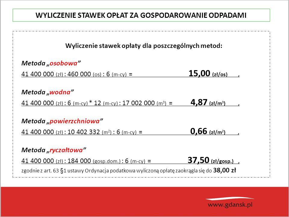 """Wyliczenie stawek opłaty dla poszczególnych metod: Metoda """"osobowa 41 400 000 (zł) : 460 000 (os) : 6 (m-cy) = 15,00 (zł/os), Metoda """"wodna 41 400 000 (zł) : 6 (m-cy) * 12 (m-cy) : 17 002 000 (m 3 ) = 4,87 (zł/m 3 ), Metoda """"powierzchniowa 41 400 000 (zł) : 10 402 332 (m 2 ) : 6 (m-cy) = 0,66 (zł/m 2 ), Metoda """"ryczałtowa 41 400 000 (zł) : 184 000 (gosp.dom.) : 6 (m-cy) = 37,50 (zł/gosp.), zgodnie z art."""