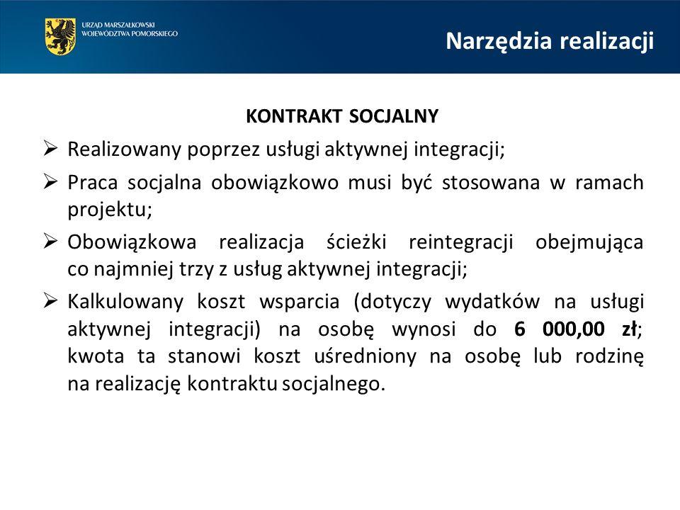 Narzędzia realizacji KONTRAKT SOCJALNY  Realizowany poprzez usługi aktywnej integracji;  Praca socjalna obowiązkowo musi być stosowana w ramach projektu;  Obowiązkowa realizacja ścieżki reintegracji obejmująca co najmniej trzy z usług aktywnej integracji;  Kalkulowany koszt wsparcia (dotyczy wydatków na usługi aktywnej integracji) na osobę wynosi do 6 000,00 zł; kwota ta stanowi koszt uśredniony na osobę lub rodzinę na realizację kontraktu socjalnego.