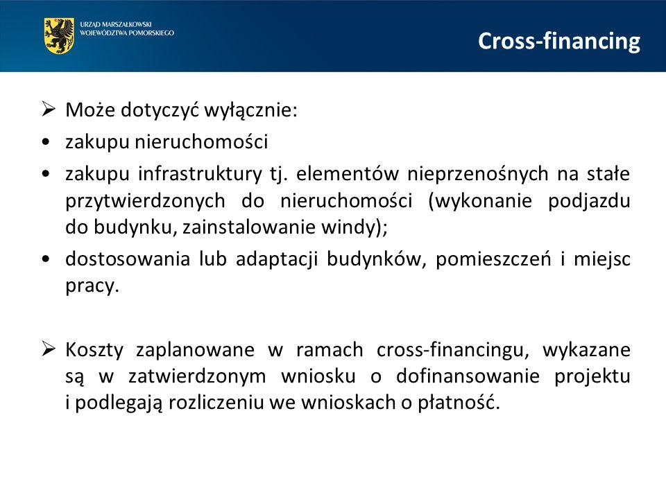 Cross-financing  Może dotyczyć wyłącznie: zakupu nieruchomości zakupu infrastruktury tj.