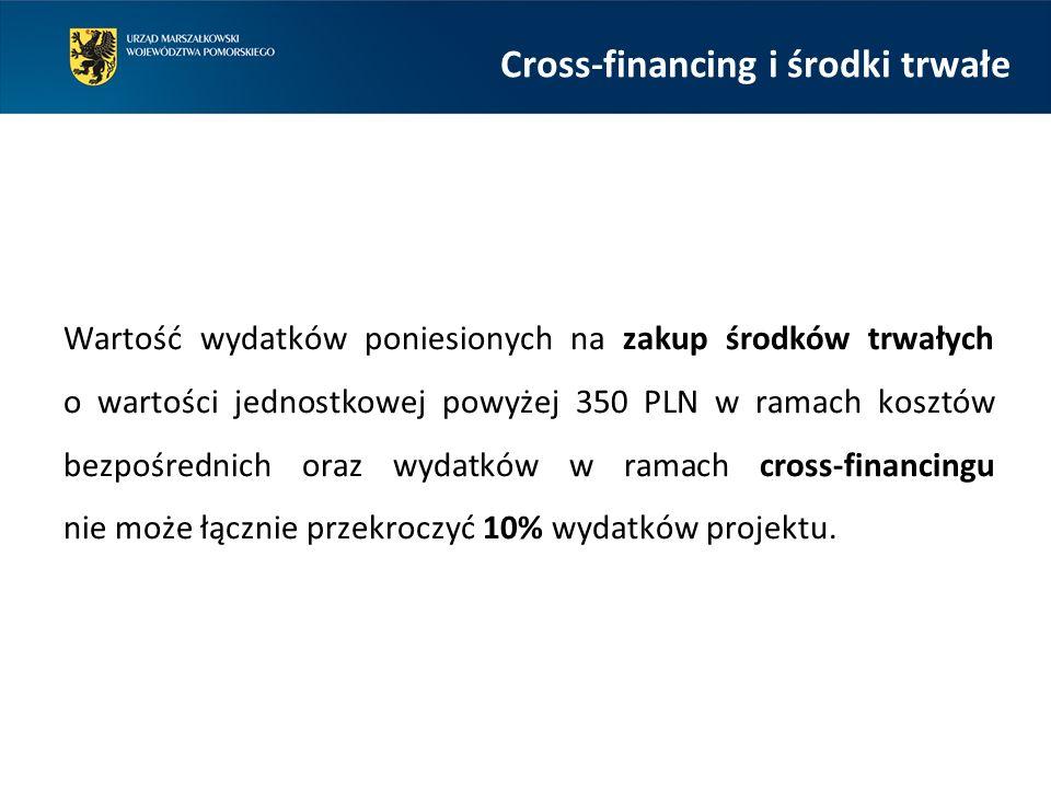 Cross-financing i środki trwałe Wartość wydatków poniesionych na zakup środków trwałych o wartości jednostkowej powyżej 350 PLN w ramach kosztów bezpośrednich oraz wydatków w ramach cross-financingu nie może łącznie przekroczyć 10% wydatków projektu.