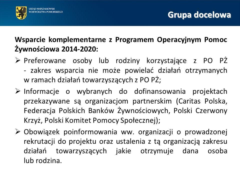Grupa docelowa Wsparcie komplementarne z Programem Operacyjnym Pomoc Żywnościowa 2014-2020:  Preferowane osoby lub rodziny korzystające z PO PŻ - zakres wsparcia nie może powielać działań otrzymanych w ramach działań towarzyszących z PO PŻ;  Informacje o wybranych do dofinansowania projektach przekazywane są organizacjom partnerskim (Caritas Polska, Federacja Polskich Banków Żywnościowych, Polski Czerwony Krzyż, Polski Komitet Pomocy Społecznej);  Obowiązek poinformowania ww.