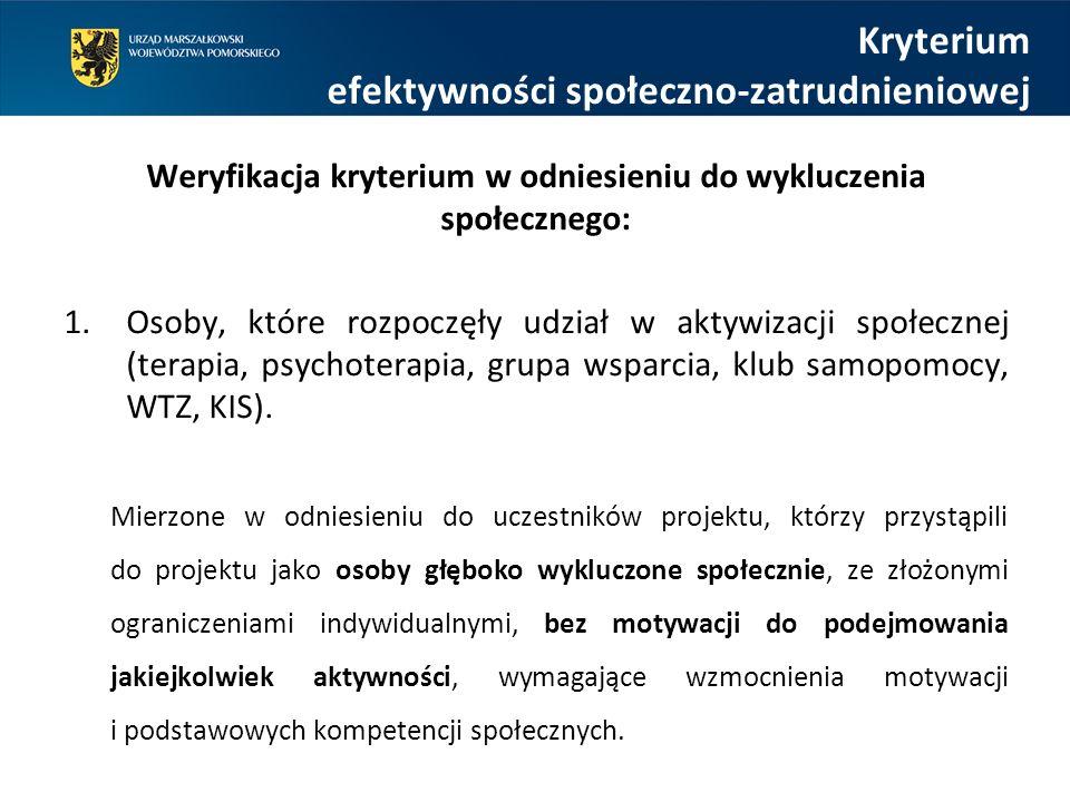 Kryterium efektywności społeczno-zatrudnieniowej Weryfikacja kryterium w odniesieniu do wykluczenia społecznego: 1.Osoby, które rozpoczęły udział w aktywizacji społecznej (terapia, psychoterapia, grupa wsparcia, klub samopomocy, WTZ, KIS).